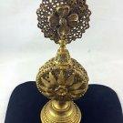 ORMOLU FILIGREE & FLOWER DESIGN PERFUME BOTTLE GOLD TONE