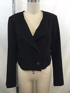 WHITE HOUSE BLACK MARKET BLACK DOUBLE BREASTED CROP JACKET SIZE 6