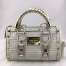 GIANNI VERSACE COUTURE WHITE QUILTED LEATHER GRECA DOCTOR HANDBAG