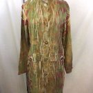 MECHANT HAWAII GREEN/ ROSE BUTTON DOWN MANDARIN COLLAR COAT SIZE M