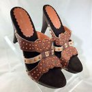 ISABELLA FIORE BROWN LEATHER ORANGE BEAD WOODEN MULES SIZE 10