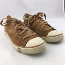 UGG CAMEL BROWN SUEDE SHEARLING LINED LACE UP SNEAKERS SIZE 8
