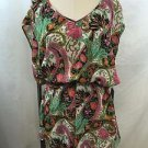 SHOW ME YOUR MUMU GREEN/ PINK FLORAL ROMPER SIZE MEDIUM