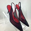 MISS ROSSI BLACK MESH SLINGBACK POINTED PUMPS SIZE 36.5