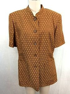 ESCADA MARGARETHA LEY BROWN GOLD PATTERNED S/S LINEN JACKET SIZE 42