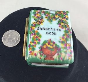 LIMOGE GARDENING BOOK W/ TOOLS TRINKET BOX WITH GOLD TRIM DETAIL