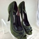GIOVANNI MONTE GREEN SUEDE BLACK LEATHER TRIM DETAIL PEEP TOE HEELS SIZE 40
