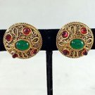 CHANEL VINTAGE 1985 GOLD TONE GRIPOIX RED/ GREEN STONE ROUND CLIP ON EARRINGS