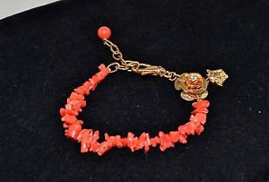 VERSACE GOLD TONE CORAL BEADED FLOWER DETAIL BRACELET