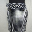 JUICY COUTURE NAVY/ WHITE POLKA DOT HIGH WAISTED SKIRT W/ BELT SIZE 10
