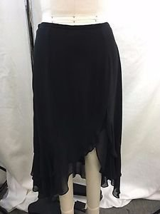 NICOLE MILLER COLLECTION BLACK SILK CHIFFON RUFFLE SKIRT SIZE 6