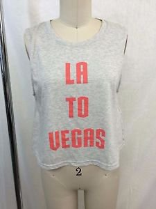 MINK PINK GRAY CORAL VEGAS BABY CROP TANK SIZE SMALL