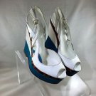 GUCCI KOTAO WHITE/ TEAL LEATHER TORTOISE DETAIL SLINGBACK WEDGES SIZE 38
