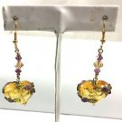 Swarovski Purple Crystal Amber Colored Heart Shaped Resin Heart Earrings