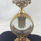ORMOLU ROUND FILIGREE DESIGN PERFUME BOTTLE GOLD TONE