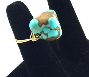 Handmade Ring 14K Gold Fill Wire Wrap Stone Turquoise Size 8