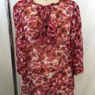CH CAROLINA HERRERA RED FLORAL SILK LINEN SHEER BLOUSE SIZE 0