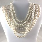 "Richelieu 6 Strand Faux Cream Pearl Gold Tone Necklace 14"" - 17"""