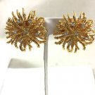 BIG Vintage 1980s Signed NLH  Rhinestone & Gold tone Clip On EARRINGS