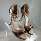 DIOR NUDE SATIN BLACK LACE DETAIL ANKLE STRAP OPEN TOE HEELS SIZE 36.5