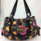 BETSEYVILLE BLACK PINK FLORAL CHAIN PRINT TWO STRAP FLAP BAG
