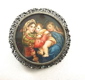 Vintage .800 Silver  Mother and Child  Cameo Brooch Pin