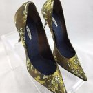 LE SILLA OLIVE GREEN BEADED SATIN TIGER PRINT POINTED PUMPS SIZE 38.5 RET $500