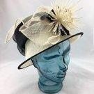 PETER BETTLEY LONDON CREAM/ BLACK SINAMAY STRAW BRETON SUN DERBY HAT