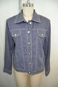 ST JOHN SPORT GRAY BLUE LINEN WHITE STITCH BUTTON DOWN JACKET SIZE PETITE