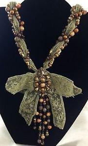 "ERICKSON BEAMON Womens Gold Beaded Fabric Necklace 28"""