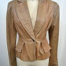 JUST CAVALLI TAN SNAKESKIN EMBOSSED LEATHER ONE BUTTON BLAZER SIZE 40
