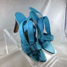 BOCCACCINI TURQUOISE LEATHER TIE UP ANKLE STRAP OPEN TOE HEELS SIZE 40