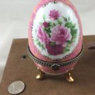 LIMOGE LARGE PINK/WHITE FLOWER TRINKET BOX W/GOLD TONE TRIM