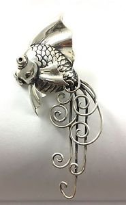 Rare Vintage Boucher Parisina Mexico Sterling Silver Designer Fantail Fish Pin