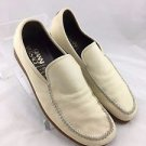 GIANNI VERSACE CREAM LEATHER STITCHED SLIDE ON LOAFERS SIZE 8.5