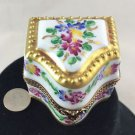 LIMOGE PERFUME BOTTLE HOLDER FLOWERS TRINKET BOX WITH GOLD TRIM DETAIL