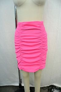 NANETTE LEPORE HOT PINK RUCHED SIDE ZIP MINI SKIRT SIZE 0