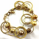 """14k 14/20 Gold tone chain bracelet Disc Pendents  7"""" to 8"""""""