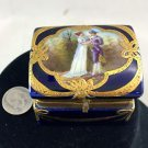 LIMOGE RECTANGLE NAVY BLUE TRINKET BOX WITH GOLD TRIM DETAIL MAN & WOMAN DETAIL