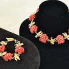 VERSACE GOLD TONE CARVED RED FLORAL CHARMS NECKLACE/ BRACELET SET
