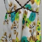 Milly Cream/Teal/Brown Silk Floral Cami SILK STRAPS  SIZE 10US/40EUC
