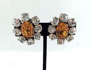 CHANEL 1984 VINTAGE CLEAR/ BROWN FLORAL CRYSTAL CLIP-ON EARRINGS
