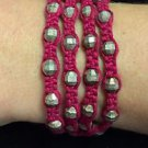 "Chan Luu 28"" Wrap Bracelet Red Corded Purple Silver Crystals & Beads .925"