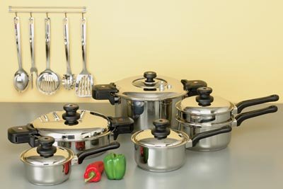 17 pc. Stainless Steel, Waterless Cookware - Free Shipping