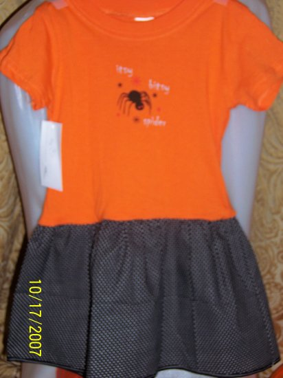 Itsy Bitsy Spider Black and Orange Polka Dot T Shirt Dress Handmade! 2T