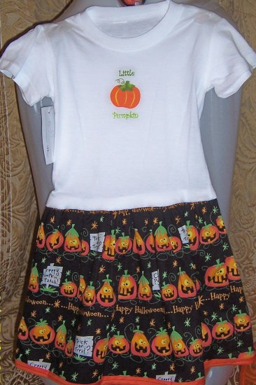 Little Pumpkin handmade Halloween T Shirt Dress Sz