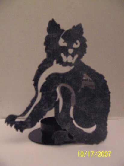 Set of 4 Black Cat metal voitve holders - Scary Halloween plus BONUS!