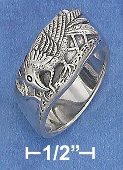 Sterling Silver Raven Diagonal Band Ring Sz 7 8 12 13 14