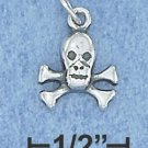 Sterling Silver Skull and crossbones mini charm antique finish