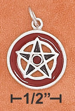 Wiccan Red and Black Enamel Sterling Silver Pentagram Charm w/ Red Crystal
